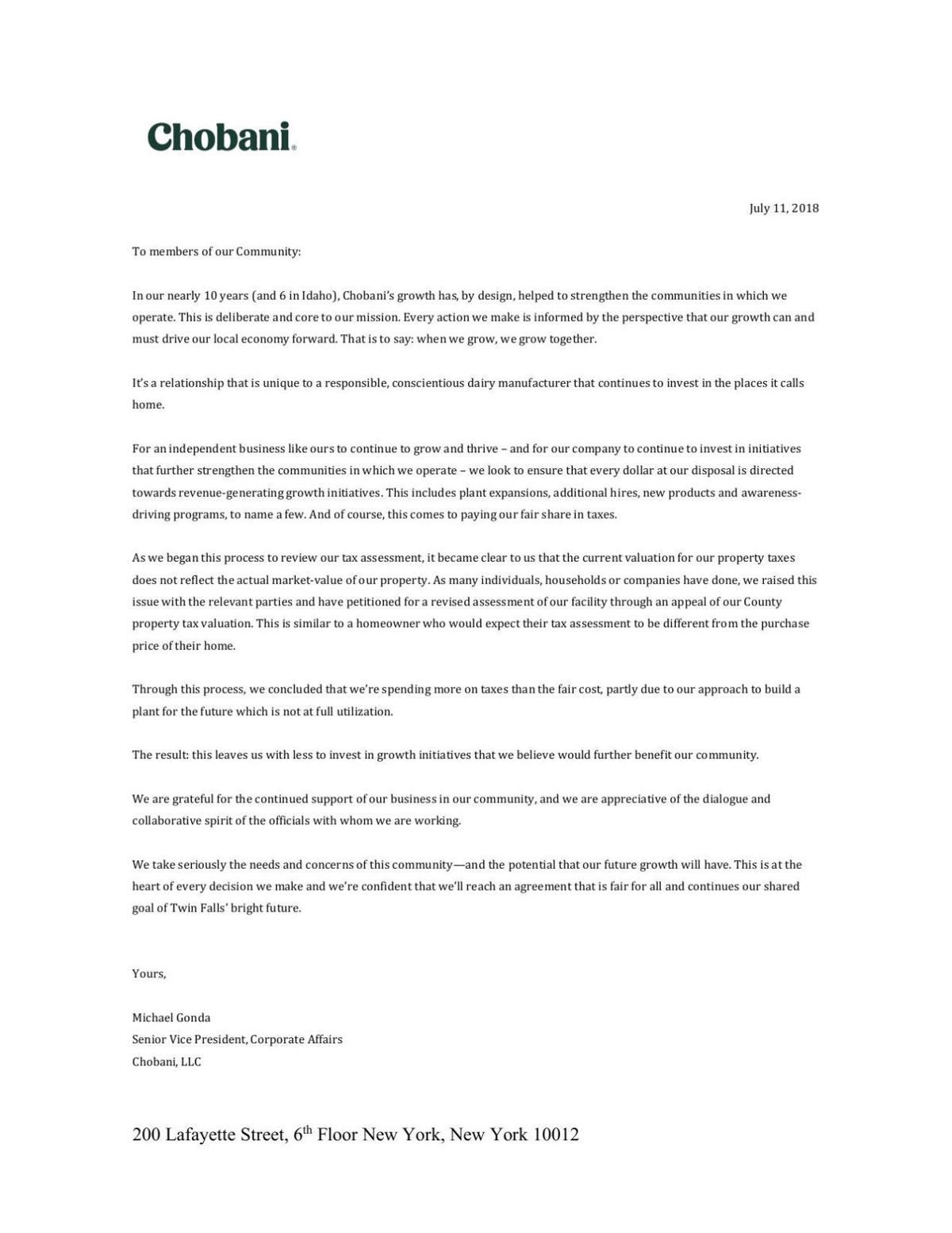 Chobani letter to the community