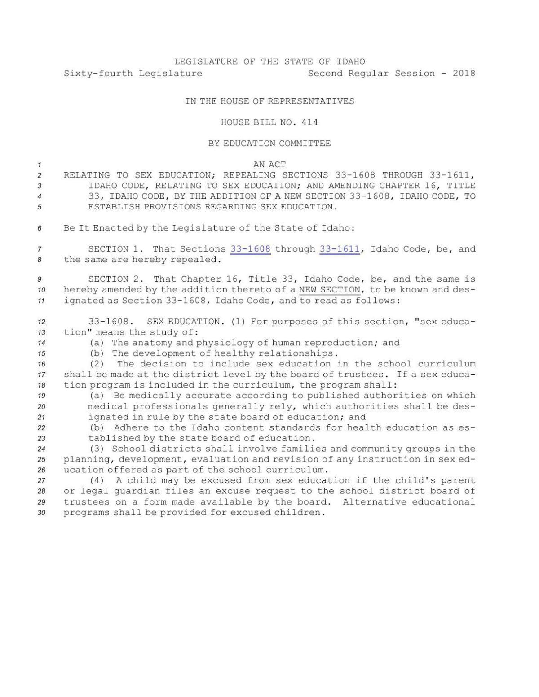 Idaho sex education bill