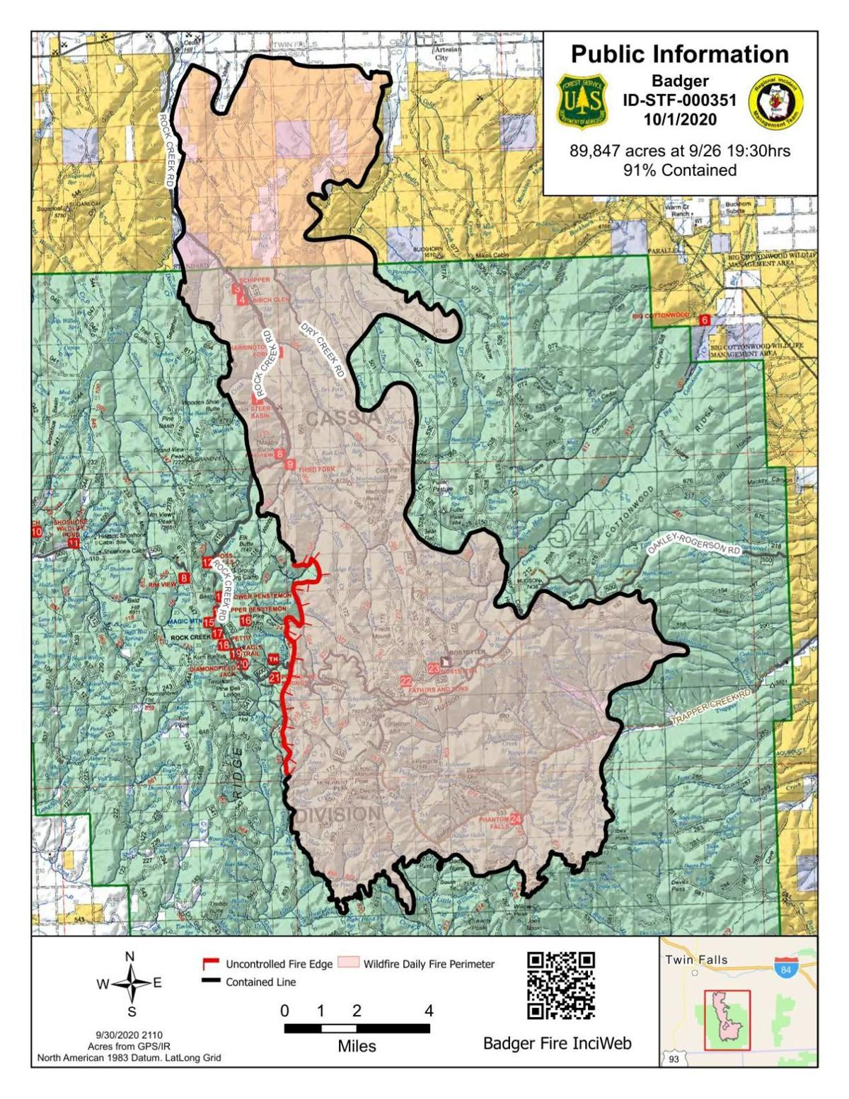 Badger Fire Friday map