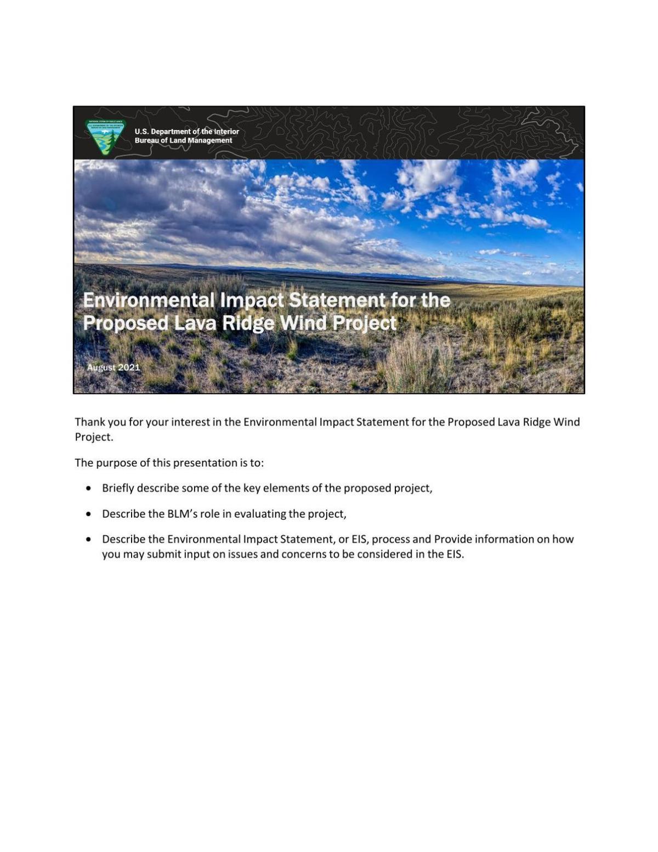 Lava Ridge Public Scoping Presentation
