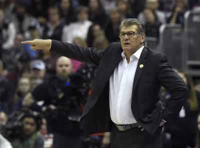 Connecticut head coach Geno Auriemma directs his team against Notre Dame in an NCAA Tournament national semifinal at Nationwide Arena in Columbus, Ohio, on Friday, March 30, 2018.