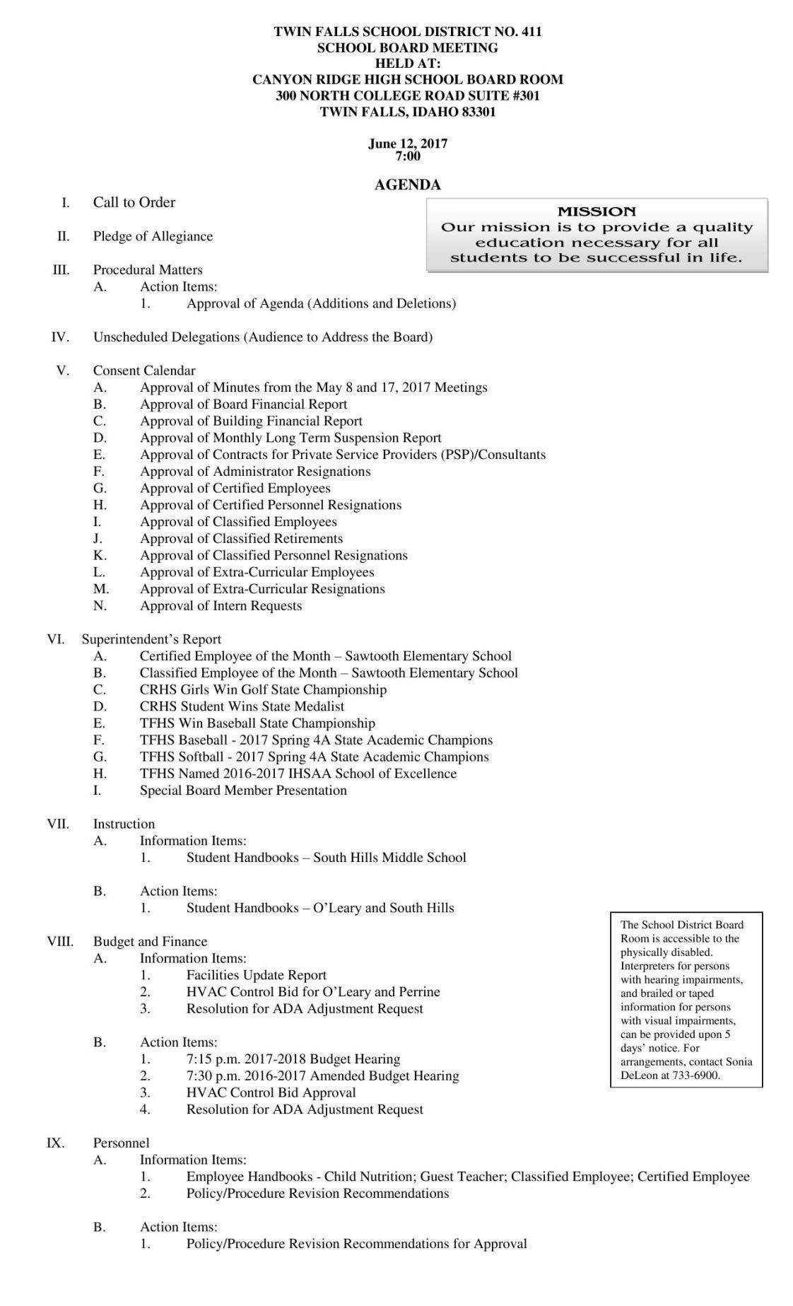 June 12 school board packet