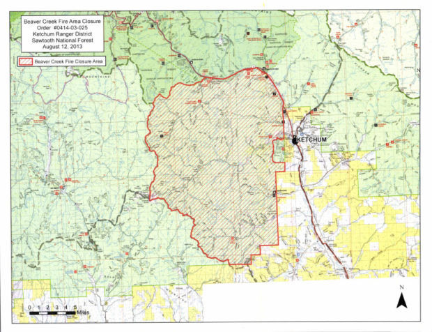 Beaver Creek Ketchum District Closure Map