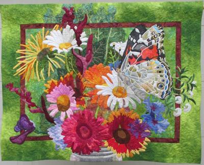 """Deana Steel's """"Mason Jar Bouquet"""" quilt"""