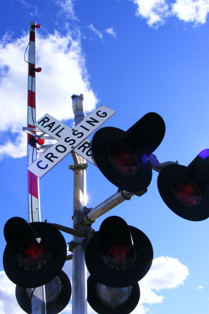 Train crossing, tracks, sign, signal