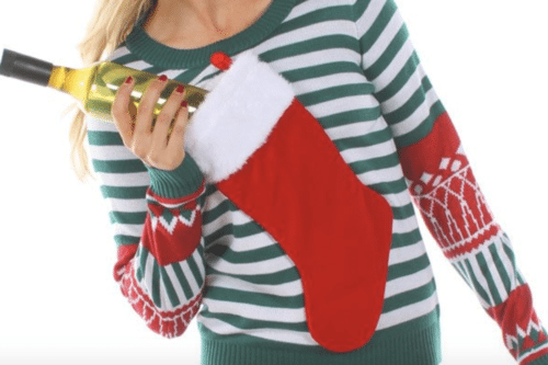 This Ugly Christmas Sweater Can Hide An Entire Bottle Of Wine