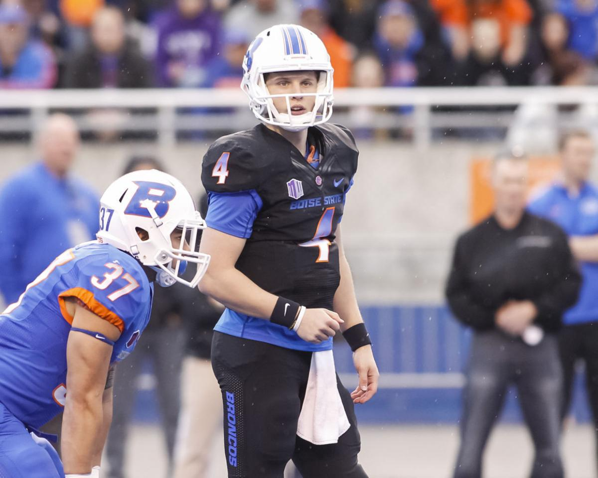 4acb65105 Boise State quarterback Brett Rypien looks to the sideline during the  team's spring scrimmage on April 11.