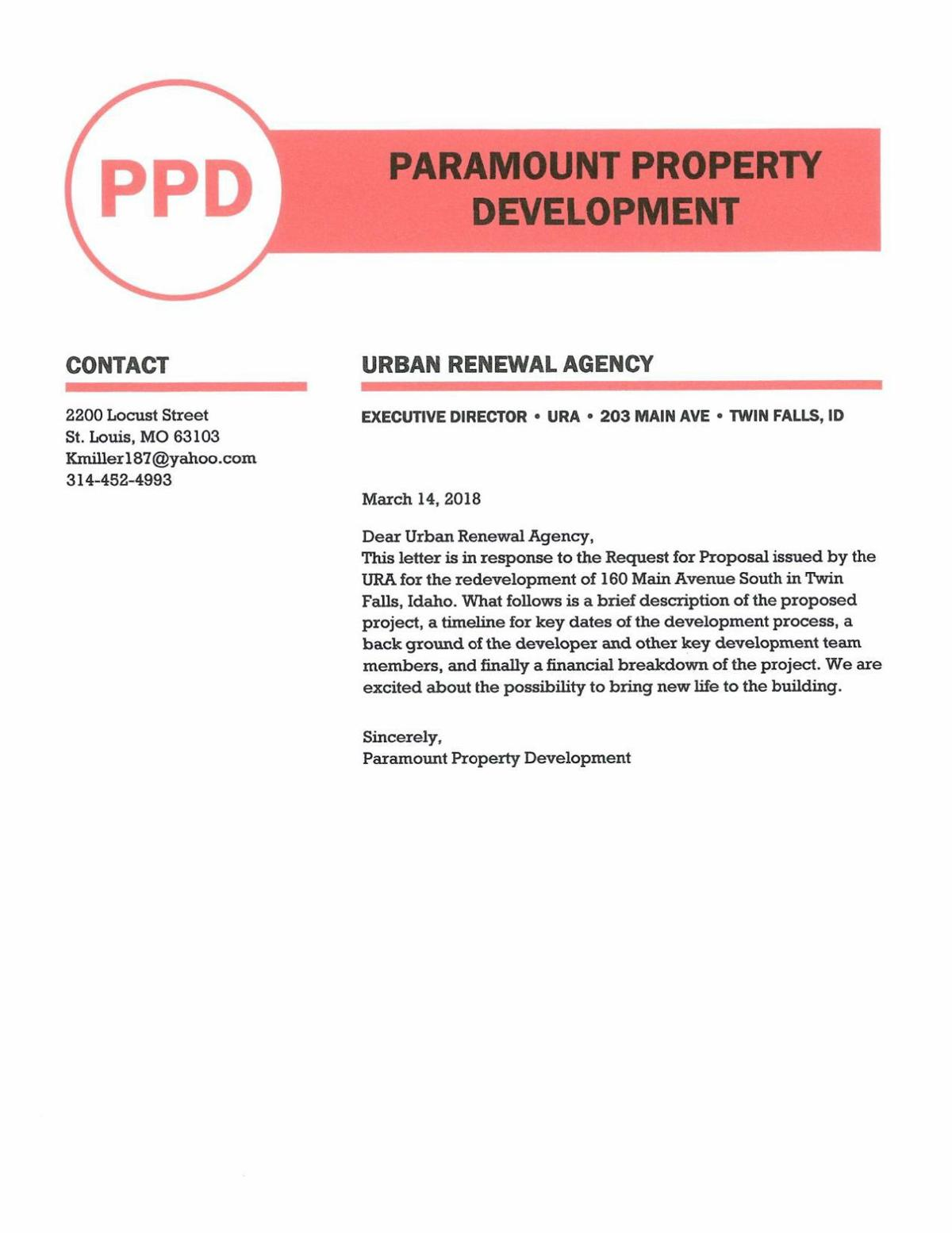 Paramount Property Development proposal