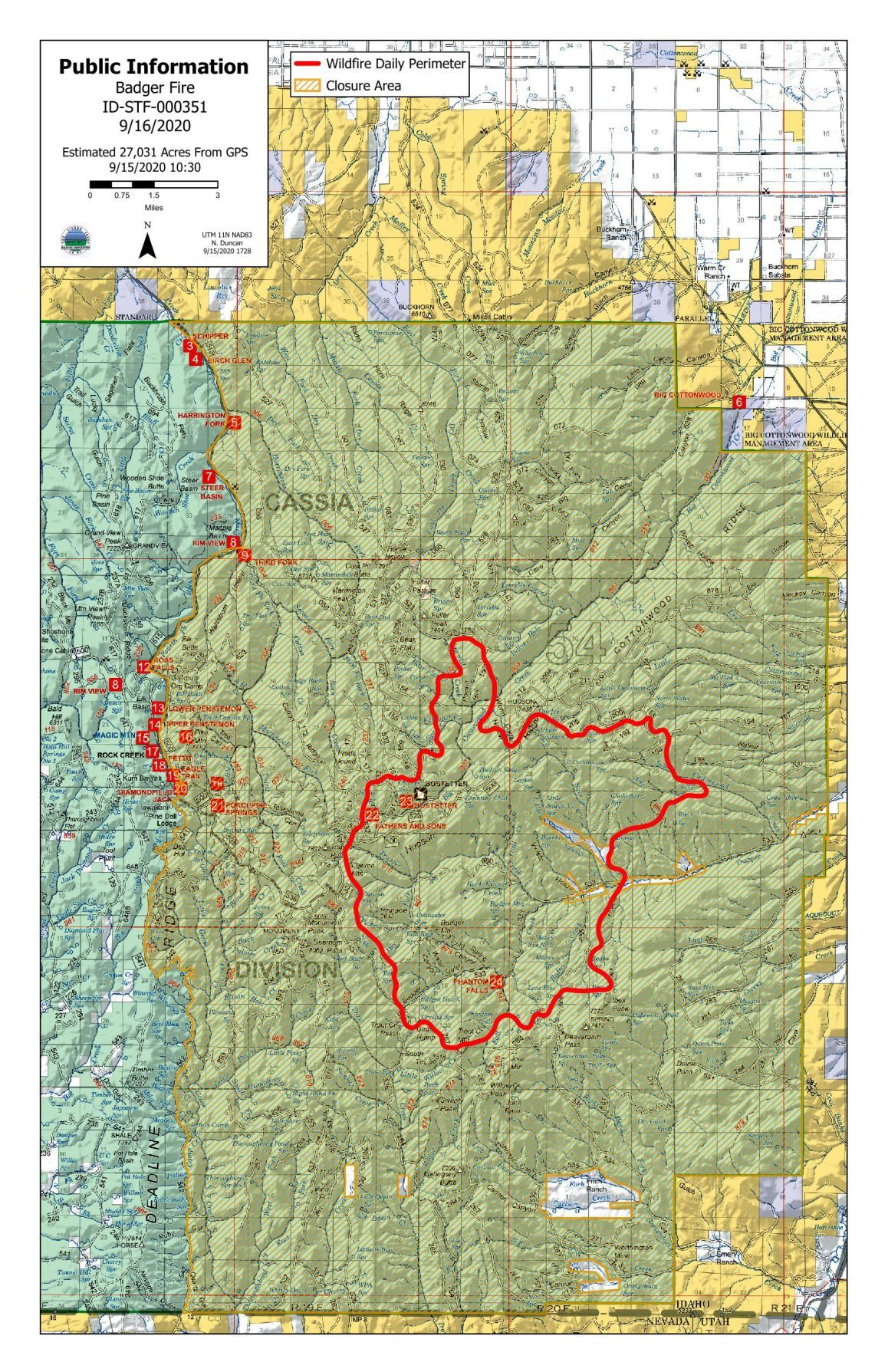 Badger Fire closure map