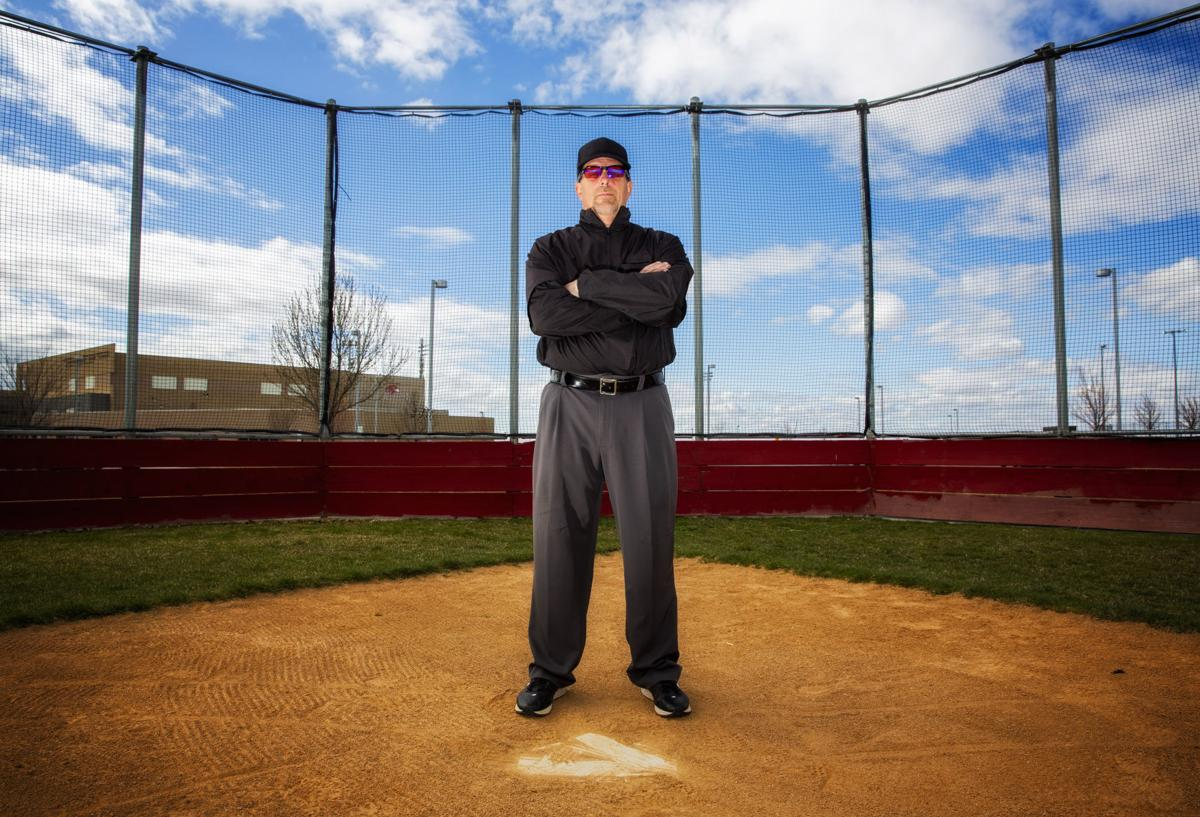 Umpire Randy Bernhard poses for a portrait April 4 at Canyon Ridge High  School in Twin Falls. 5c53b8474