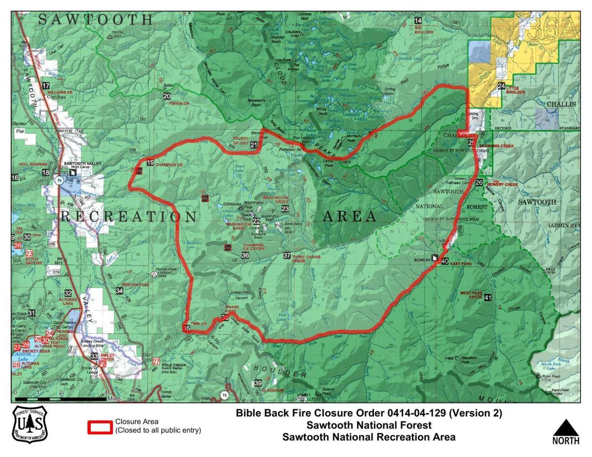 Sawtooth National Forest extends closure for fire in White ... on minnesota chippewa national forest map, salmon-challis national forest map, city of rocks national reserve map, denali national park and preserve map, caribou national forest map, deerlodge national forest map, gallatin petrified forest map, idaho map, lewis and clark national forest map, mt. baker national forest map, bering land bridge national preserve map, butte valley national grassland map, gallatin national forest map, cache national forest map, custer national forest map, sawtooth range idaho, sawtooth wilderness, green mountain national forest map, cda national forest map, magic valley mall map,