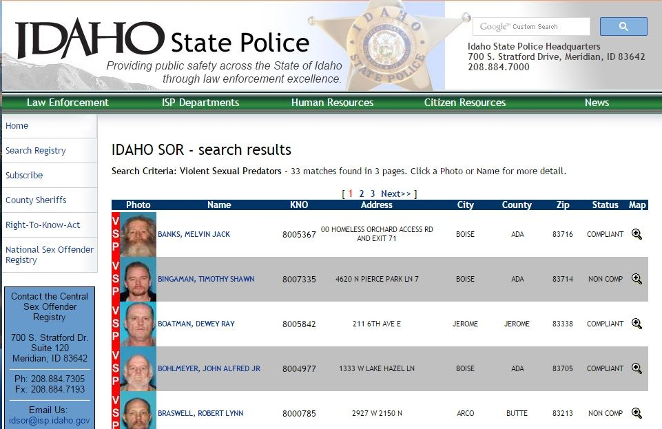 State of idaho sex offender registry