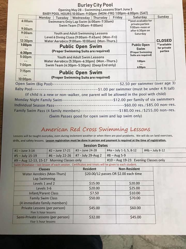 Burley pool schedule