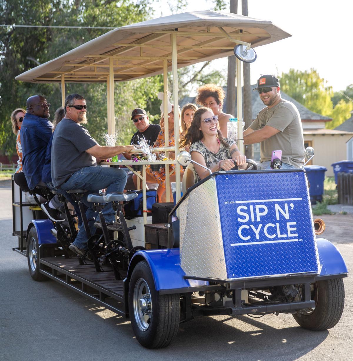 Sip N' Cycling through town