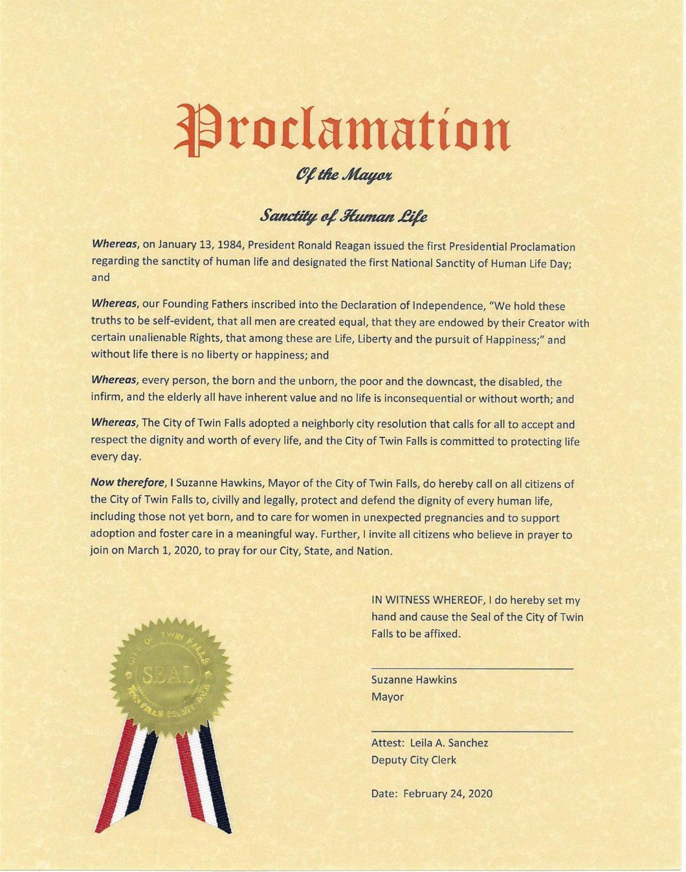 Sanctity of Human Life Proclamation