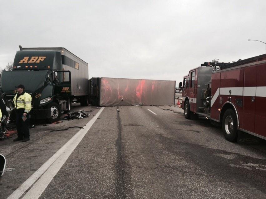 5:30 P M  UPDATE: 3 Injured in 10-vehicle Crash on I-84