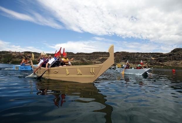 Hundreds Take In Cardboard Boat Regatta Spectacle