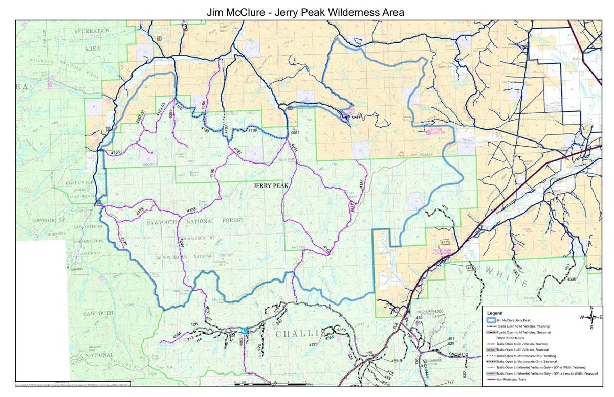 Jim McClure-Jerry Peak Wilderness Area, travel map