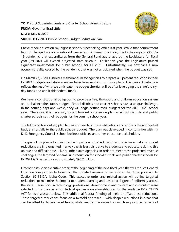 Gov. Brad Little memo to districts