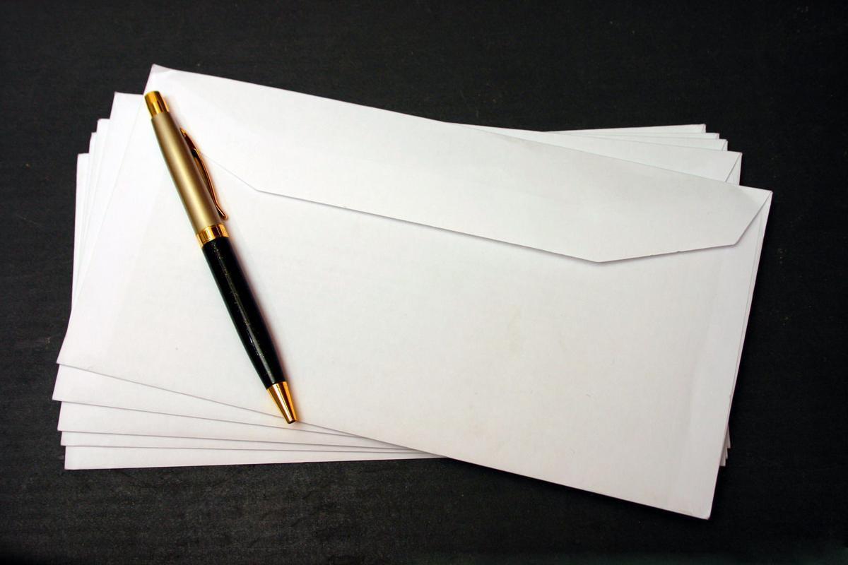 Mailbox, letter, pen, write, stock