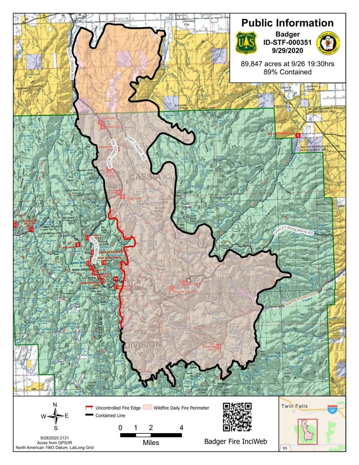 Badger Fire Tuesday map