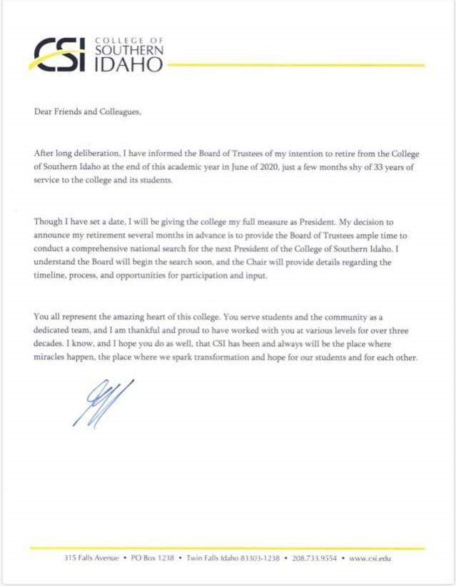 Fox retires letter