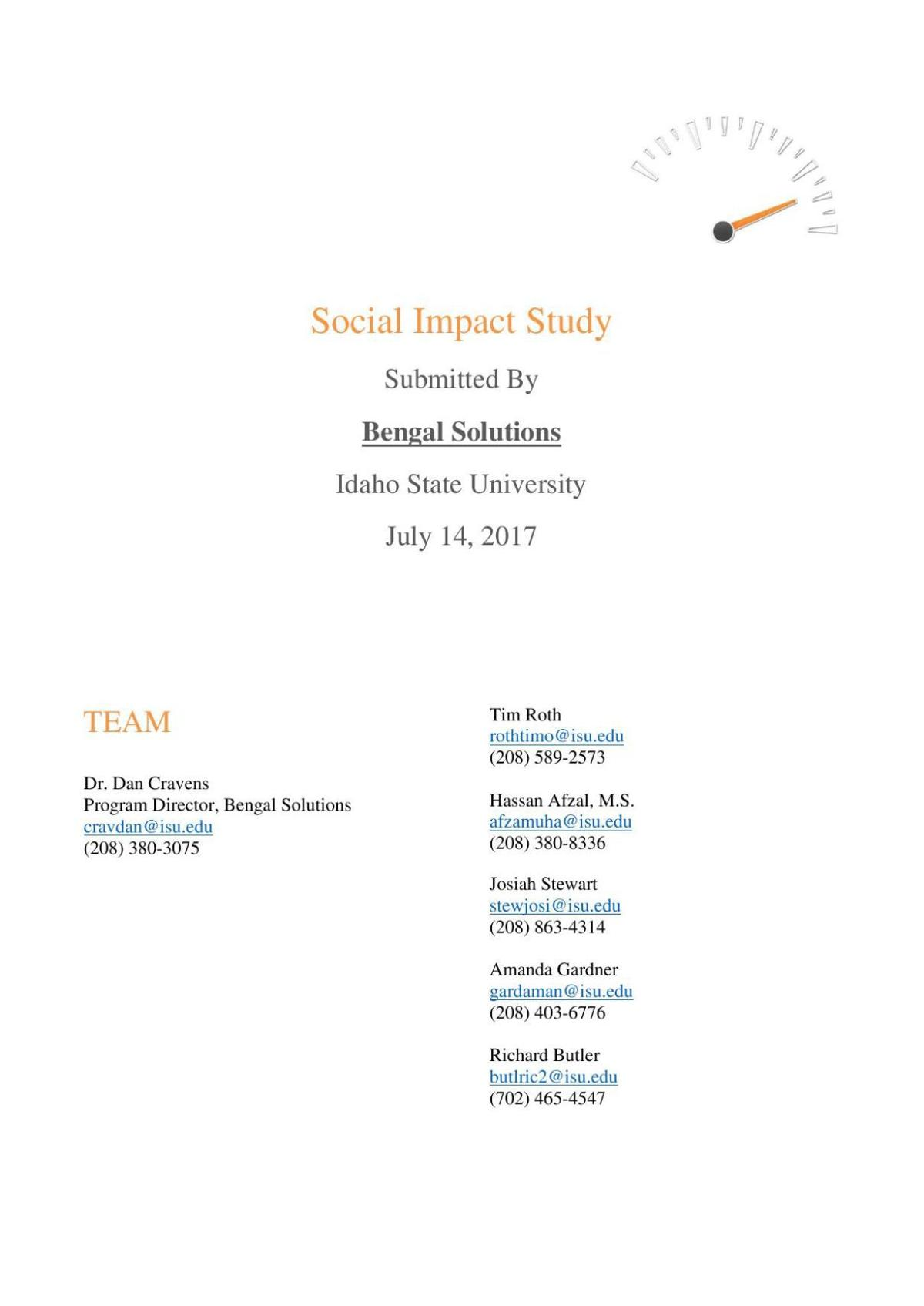 Social impact study, ITD headquarters