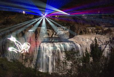 Lights and Lasers Show at Shoshone Falls