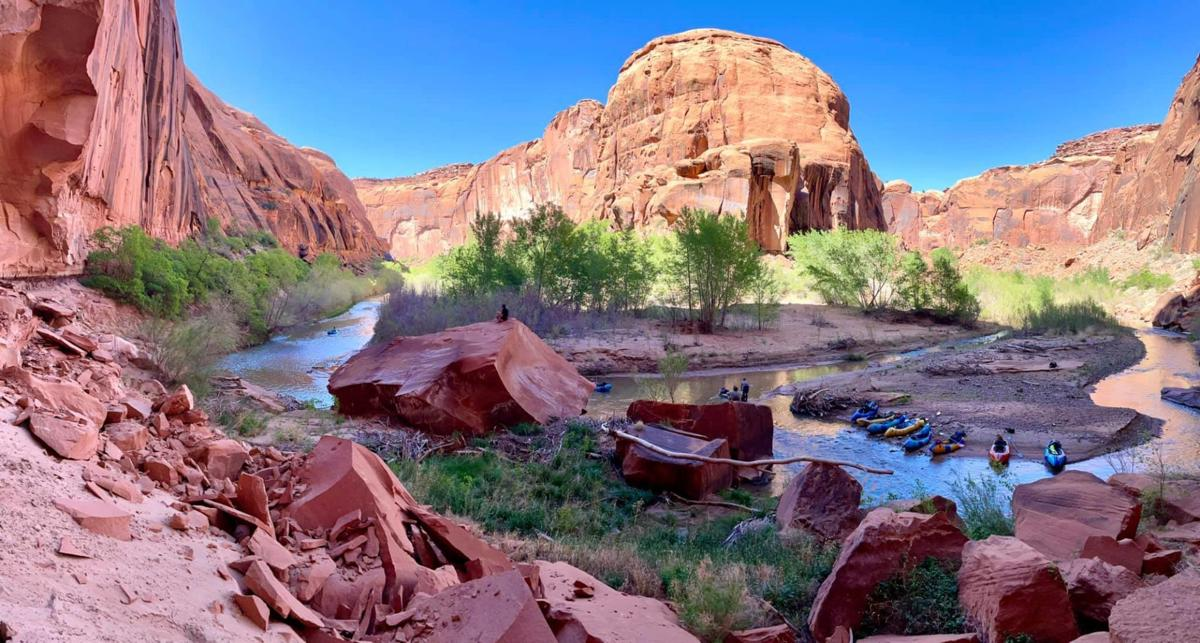 Escalante River at a trickle with kayaks