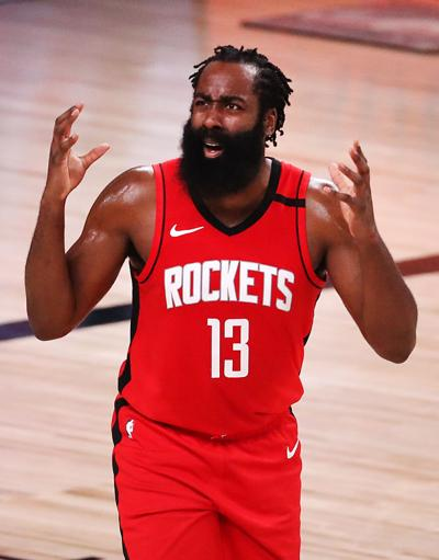 James Harden #13 of the Houston Rockets reacts during the second quarter against the Los Angeles Lakers in Game Four of the Western Conference Second Round during the 2020 NBA Playoffs at AdventHealth Arena at the ESPN Wide World Of Sports Complex on Sept. 10, 2020 in Lake Buena Vista, Florida.