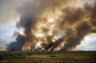 Wildfire burns near Declo