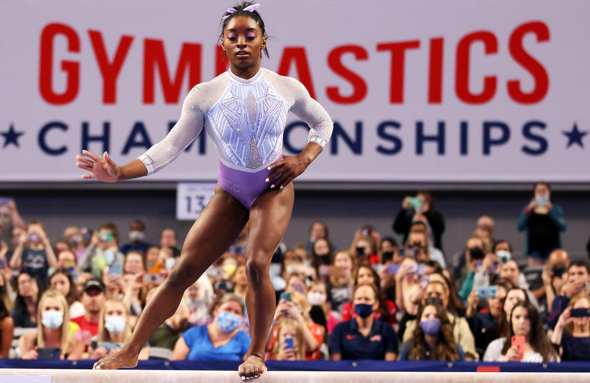 Simone Biles competes on the beam during the U.S. Gymnastics Championships at Dickies Arena in Fort Worth, Texas, on June 4, 2021.