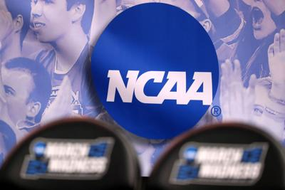 The NCAA logo is seen in the second half of the game between the Northwestern Wildcats and the Vanderbilt Commodores during the first round of the 2017 NCAA Men's Basketball Tournament at Vivint Smart Home Arena on March 16, 2017 in Salt Lake City, Utah.