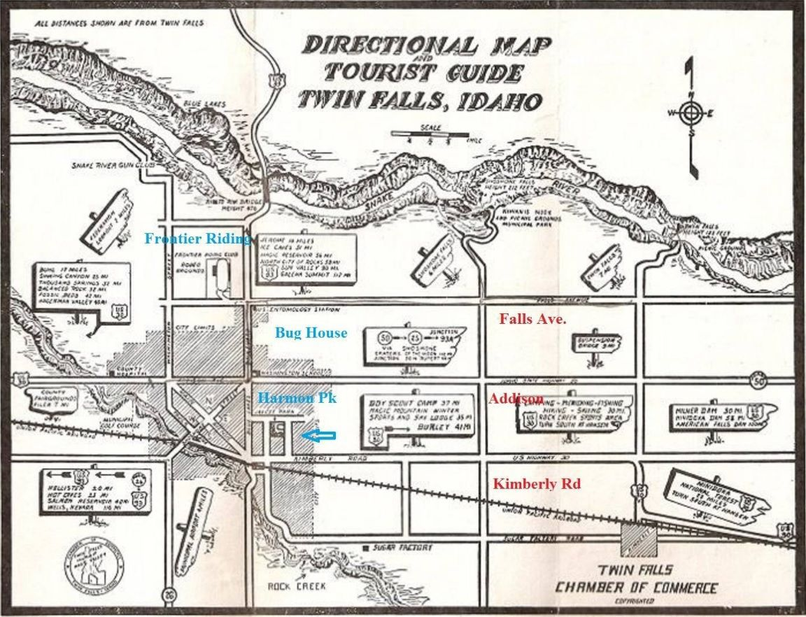 Hidden History 1940s Chamber Tourism Map Southern Idaho Local