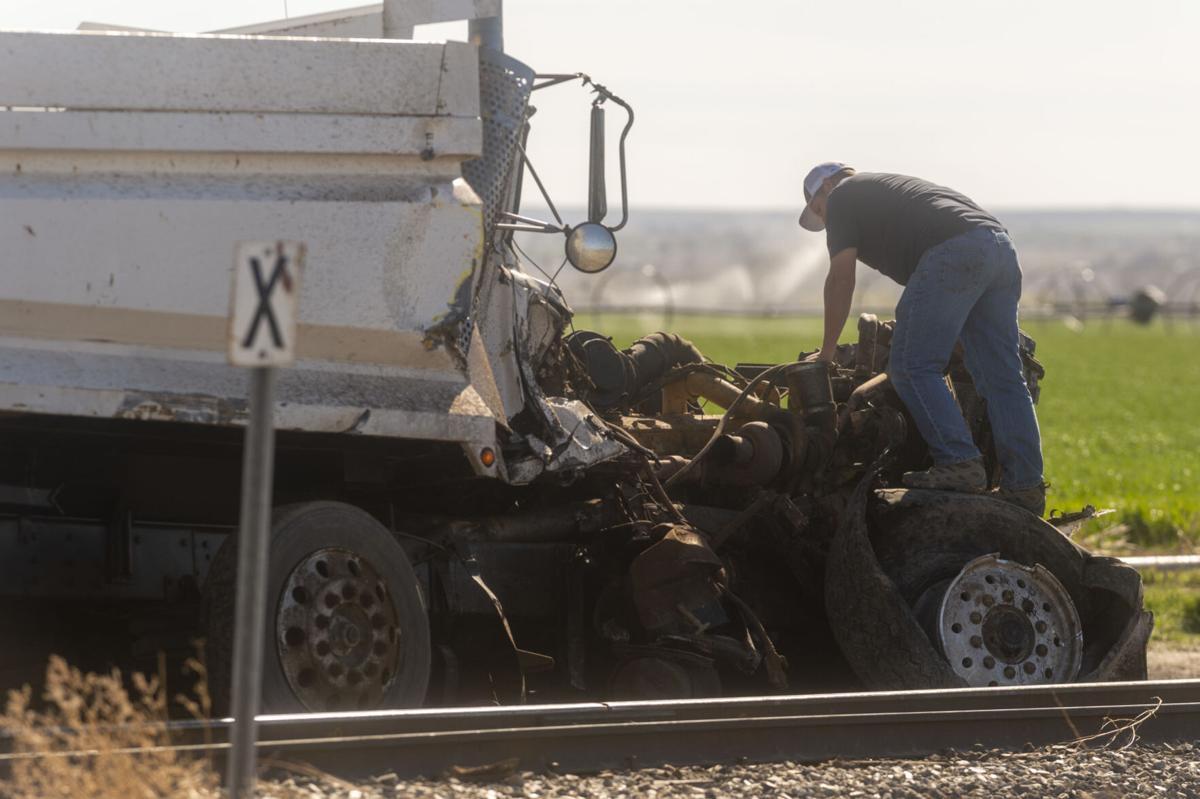 Crash involving a train and dump truck