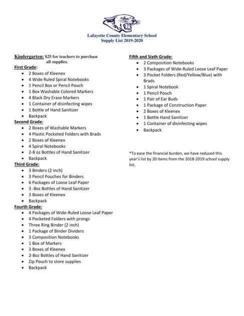 Board Of Education School Supply List - School Style