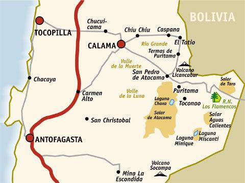 Chile Atacama Desert Map