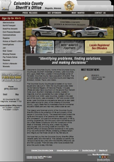 With link) Columbia County Sheriff's Office new website on-line with