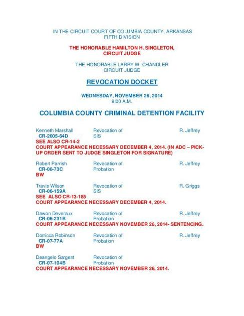 With PDF of docket) Columbia court will hear probation