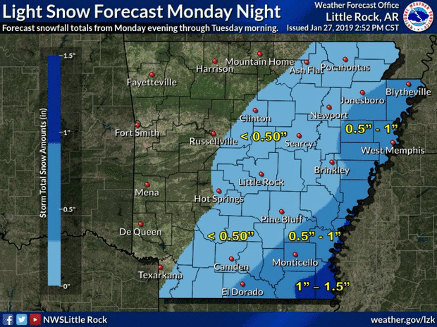 Arkansas Weather Map Winter storm brewing for SE Arkansas, Magnolia area may get