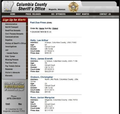 Columbia County sheriff's website lists past-due fine amounts that