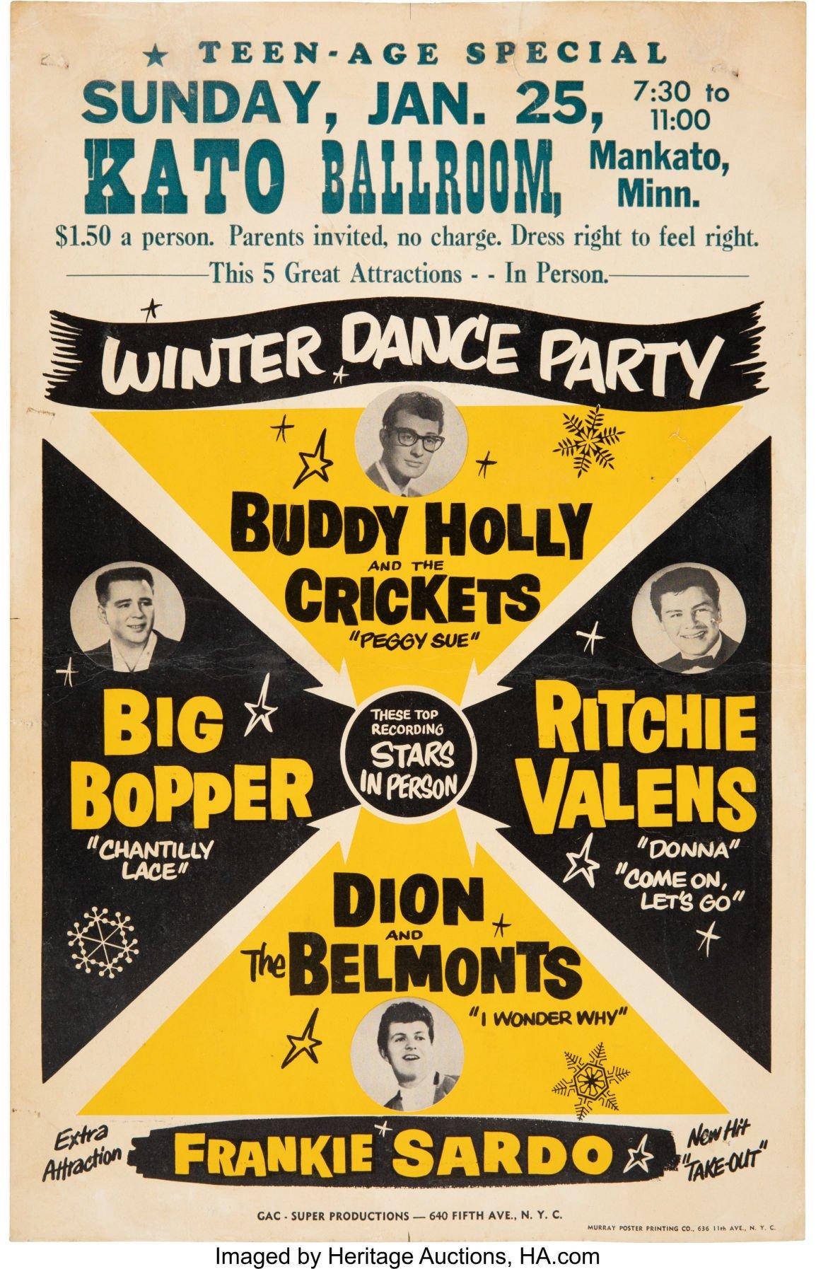 MAGNET Concert Handbill Photo Magnet Buddy Holly 1959 Kato Ballroom Mankato MN
