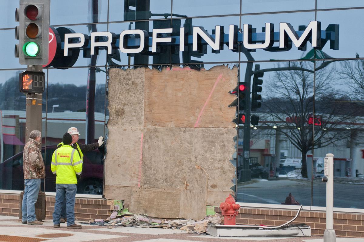 Driver crashes into Profinium building   Local News