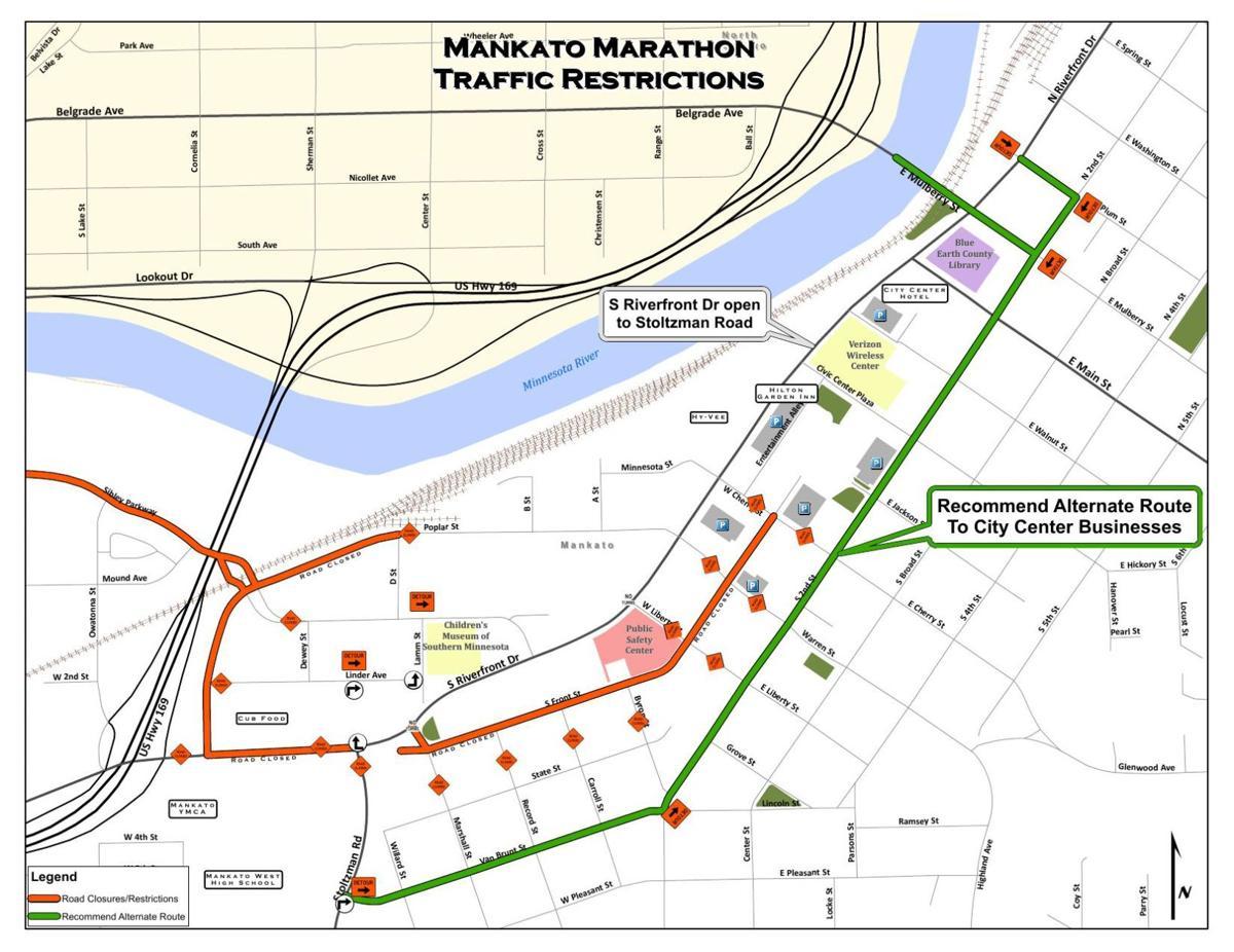 Downtown road closures map   Local News   mankatofreepress com