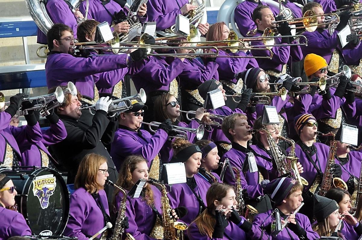 The Maverick band perform at MSU football