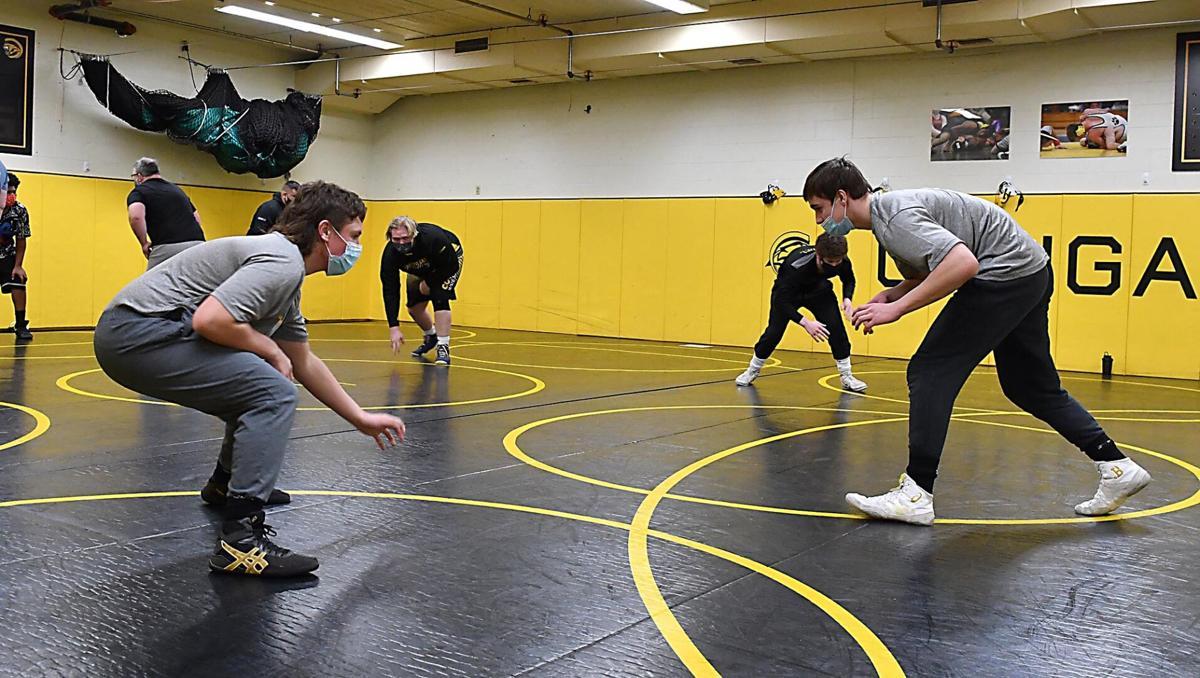 Mankato East wrestling practice