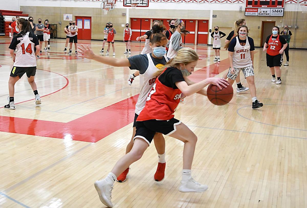 Mankato West girls basketball practice