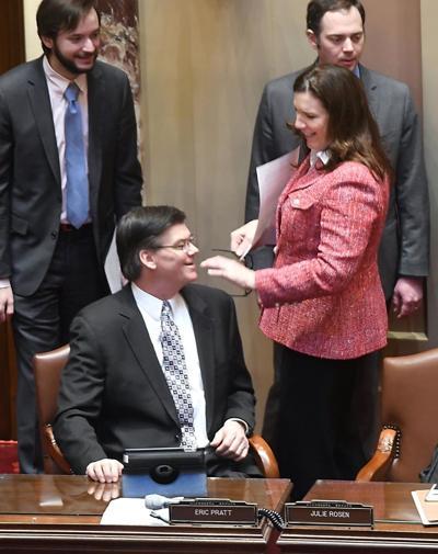 Sen. Julie Rosen talks with colleague