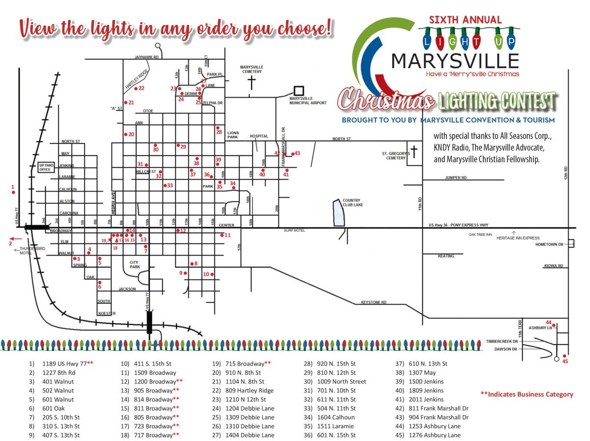 Map for Light Up Marysville! contest