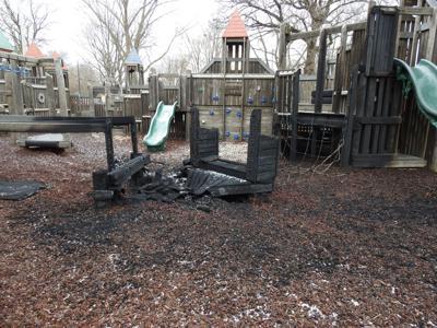 Fire damages park playground